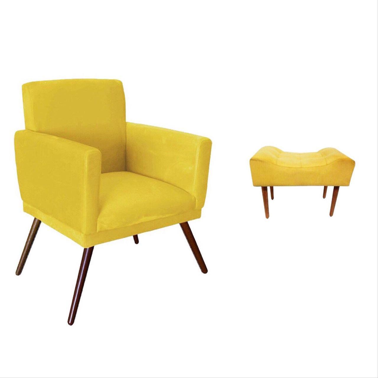 Kit Poltrona Decorativa Nina com rodapé e Puff retangular Amarelo - Bela Casa Shop