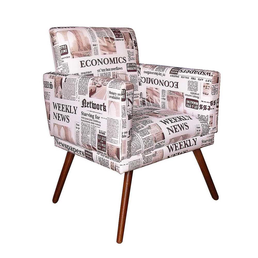 Kit Poltrona Decorativa Nina com rodapé e Puff retangular Jornal