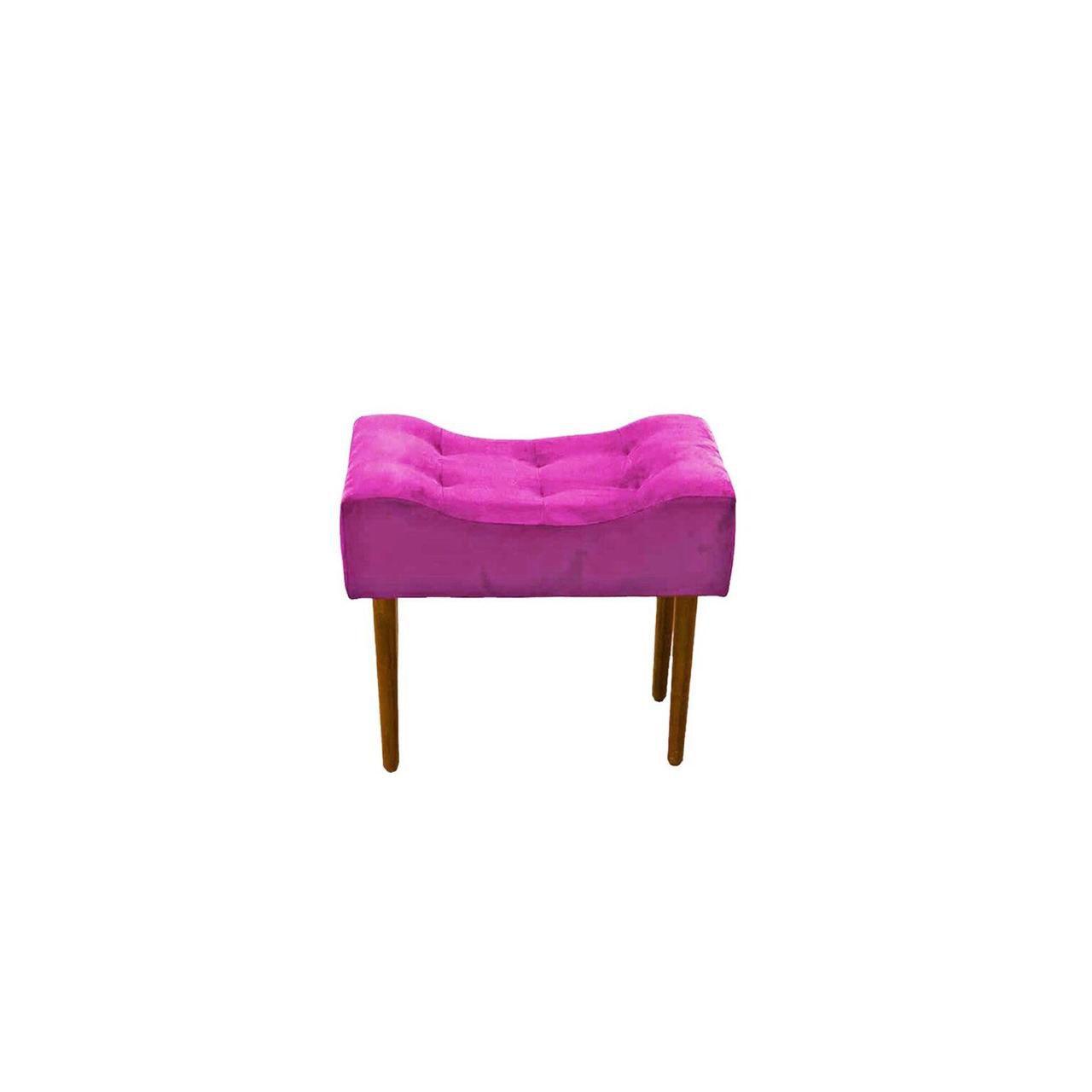 Kit Poltrona Decorativa Nina com rodapé e Puff retangular Rosa