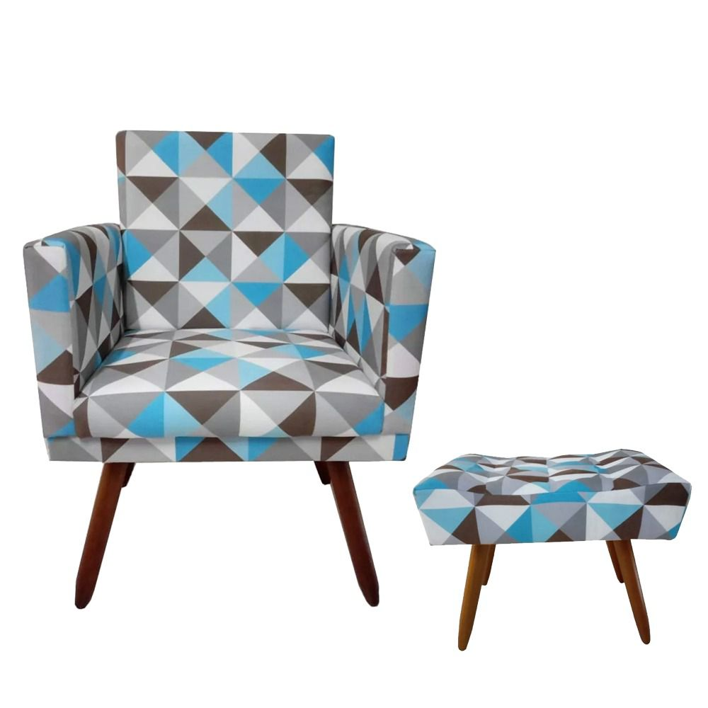 Kit Poltrona Decorativa Nina com Rodapé e Puff retangular Triângulo Azul