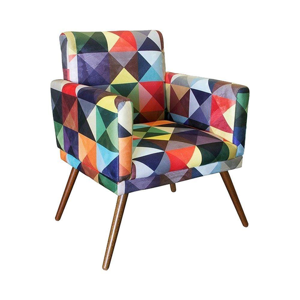 Kit Poltrona Decorativa Nina com rodapé e Puff retangular Triângulos