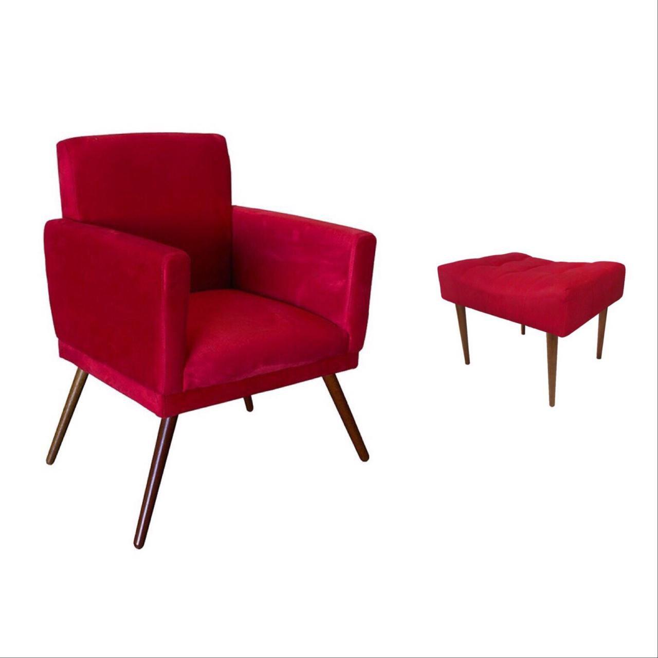 Kit Poltrona Decorativa Nina com rodapé e Puff retangular Vermelho
