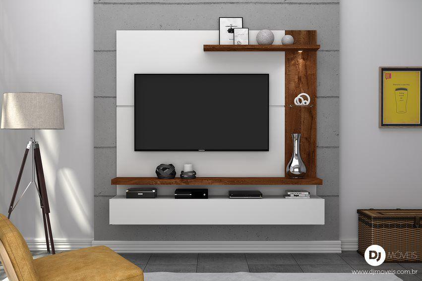 Painel Home Lira Branco/Rústico Malbec para TV de até 50 polegadas - DJ Móveis