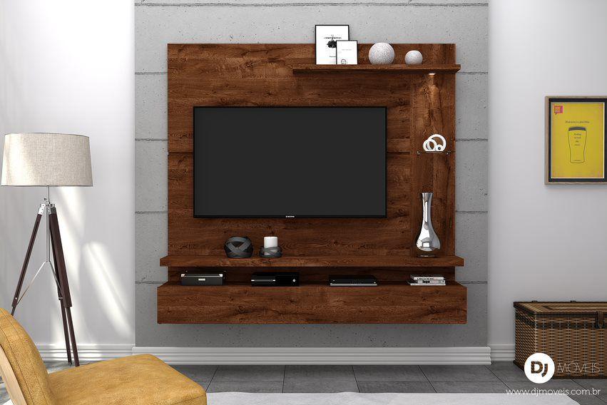 Painel Home Lira Rústico Malbec para TV de até 50 polegadas - DJ Móveis