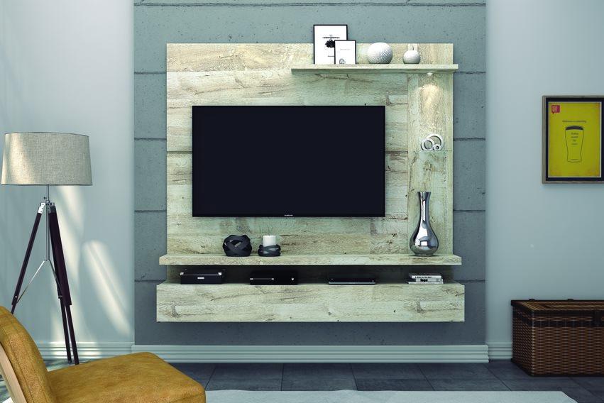 Painel Home Lira Rústico Nevado para TV de até 50 polegadas - DJ Móveis