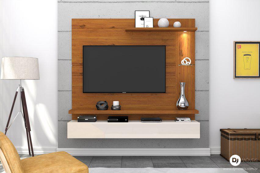 Painel Home Lira Rústico Terrara/Off White para TV de até 50 polegadas - DJ Móveis