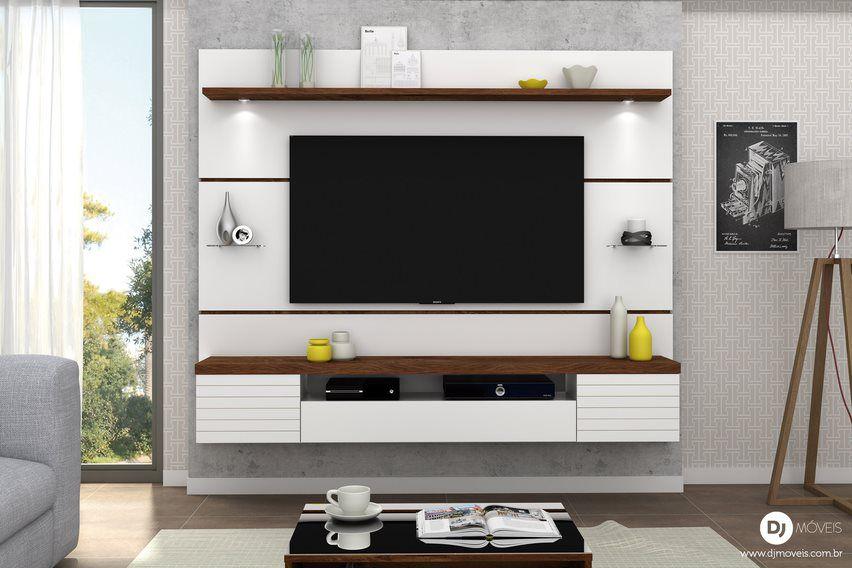 Painel Home Suspenso Estilo Branco/Rústico Malbec para TV de até 55 - DJ Móveis