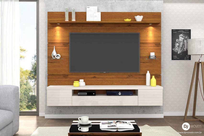 Painel Home Suspenso Estilo Rústico Terrara/Off White para TV de até 55 - DJ Móveis