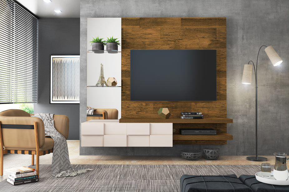 Painel Home Suspenso Turim Demolição/Off White Para TV de Até 55 - DJ Móveis