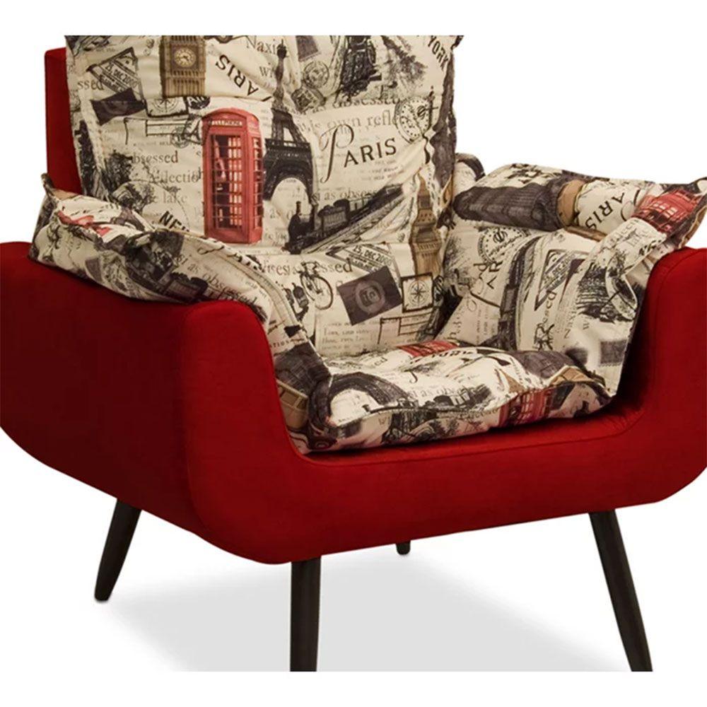 Poltrona Decorativa Ana Julia Suede Paris Vermelho