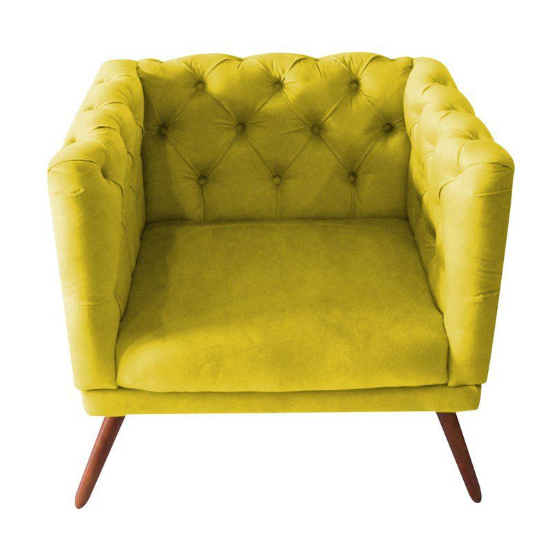 Poltrona Decorativa Capitone Suede Amarelo
