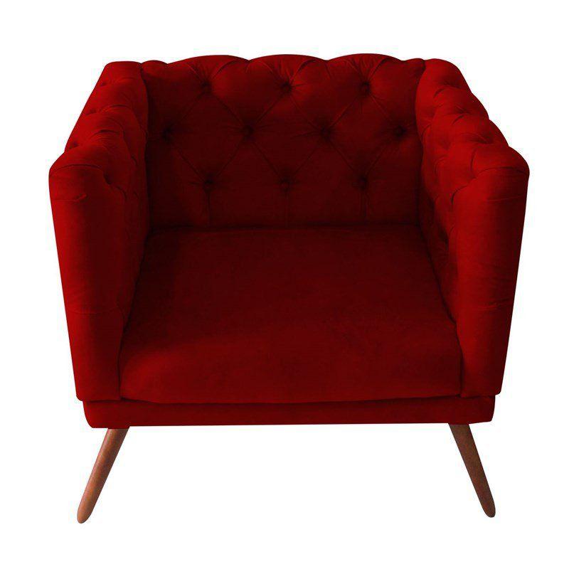 Poltrona Decorativa Capitone Suede Vermelho