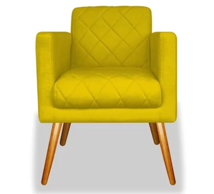 Poltrona Decorativa Charlote Suede Amarela c Rodapé