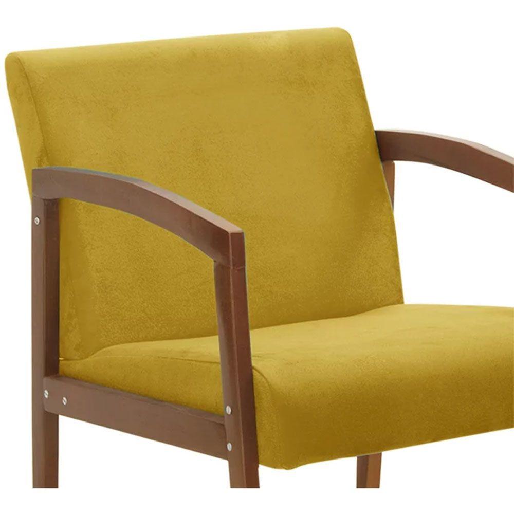 Poltrona Decorativa Malu Suede Amarelo - D'Less