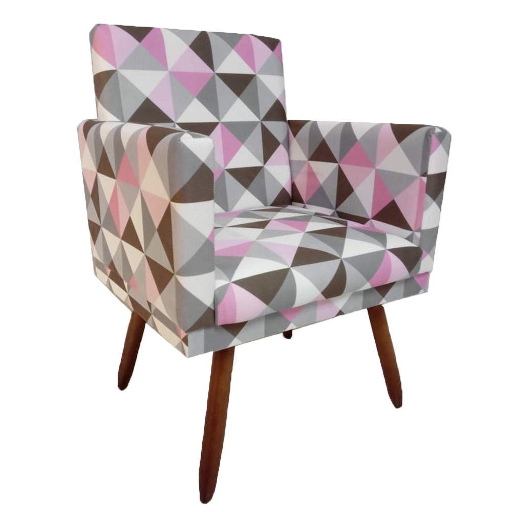Poltrona Decorativa Nina c Rodapé  Triângulo Rosa