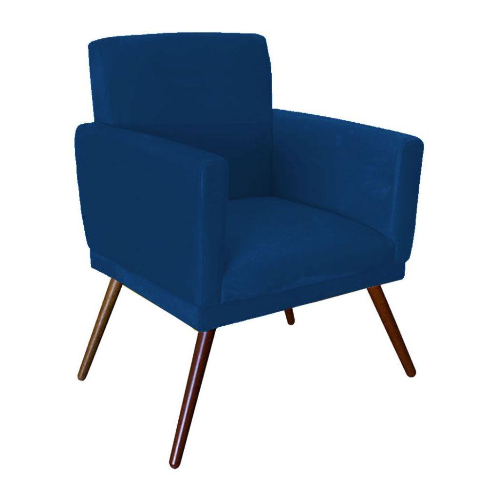 Poltrona Decorativa Nina com Pés Madeira Suede Azul Marinho
