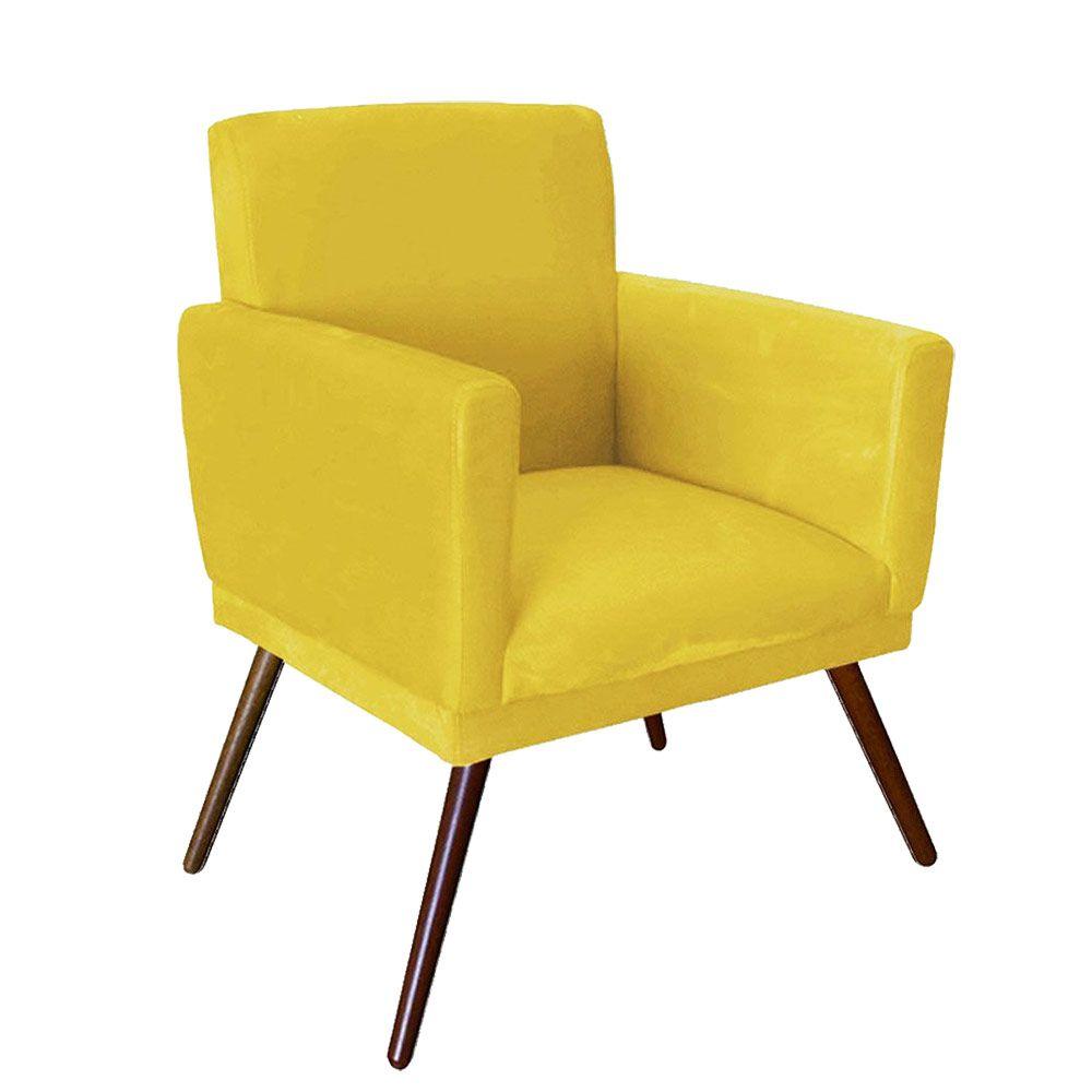 Poltrona Decorativa Nina com rodapé e Pés Madeira Suede Amarelo