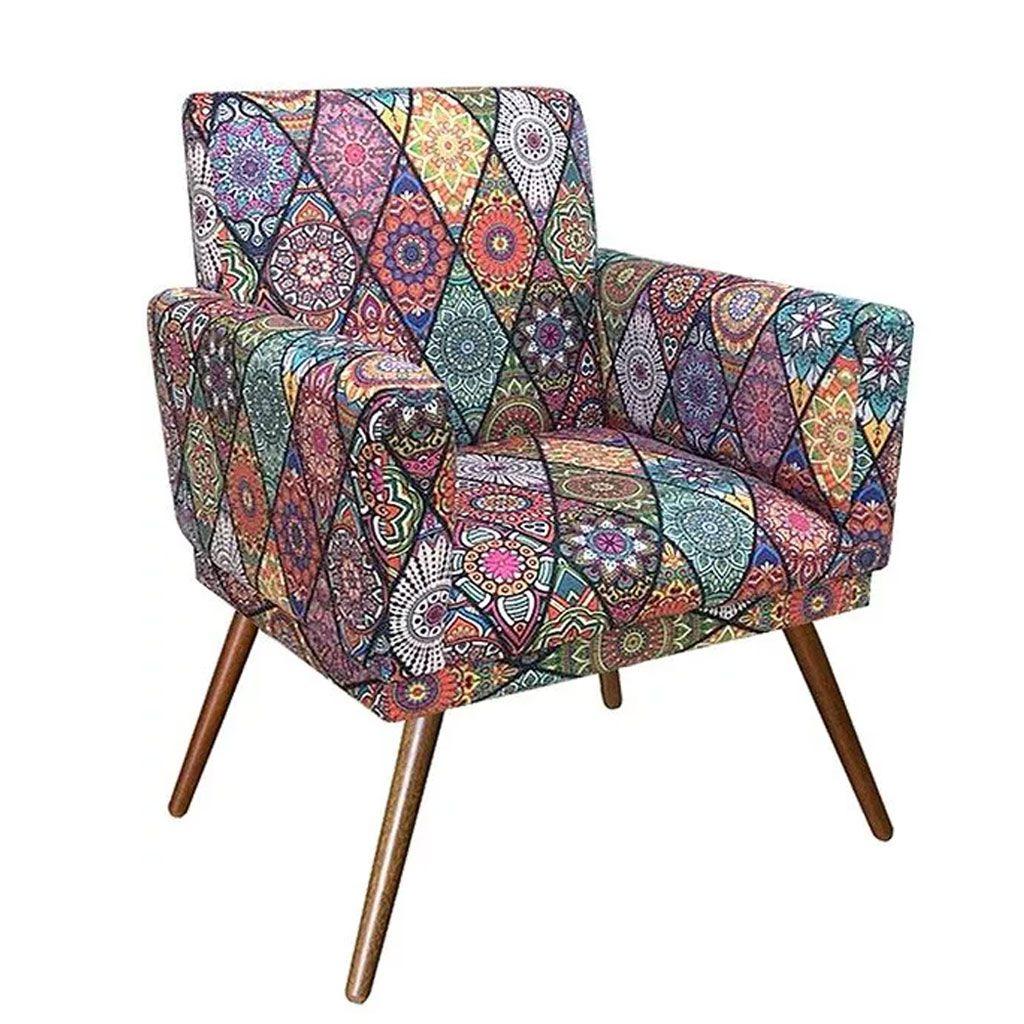 Poltrona Decorativa Nina com Rodapé Pés Madeira Suede Mosaico