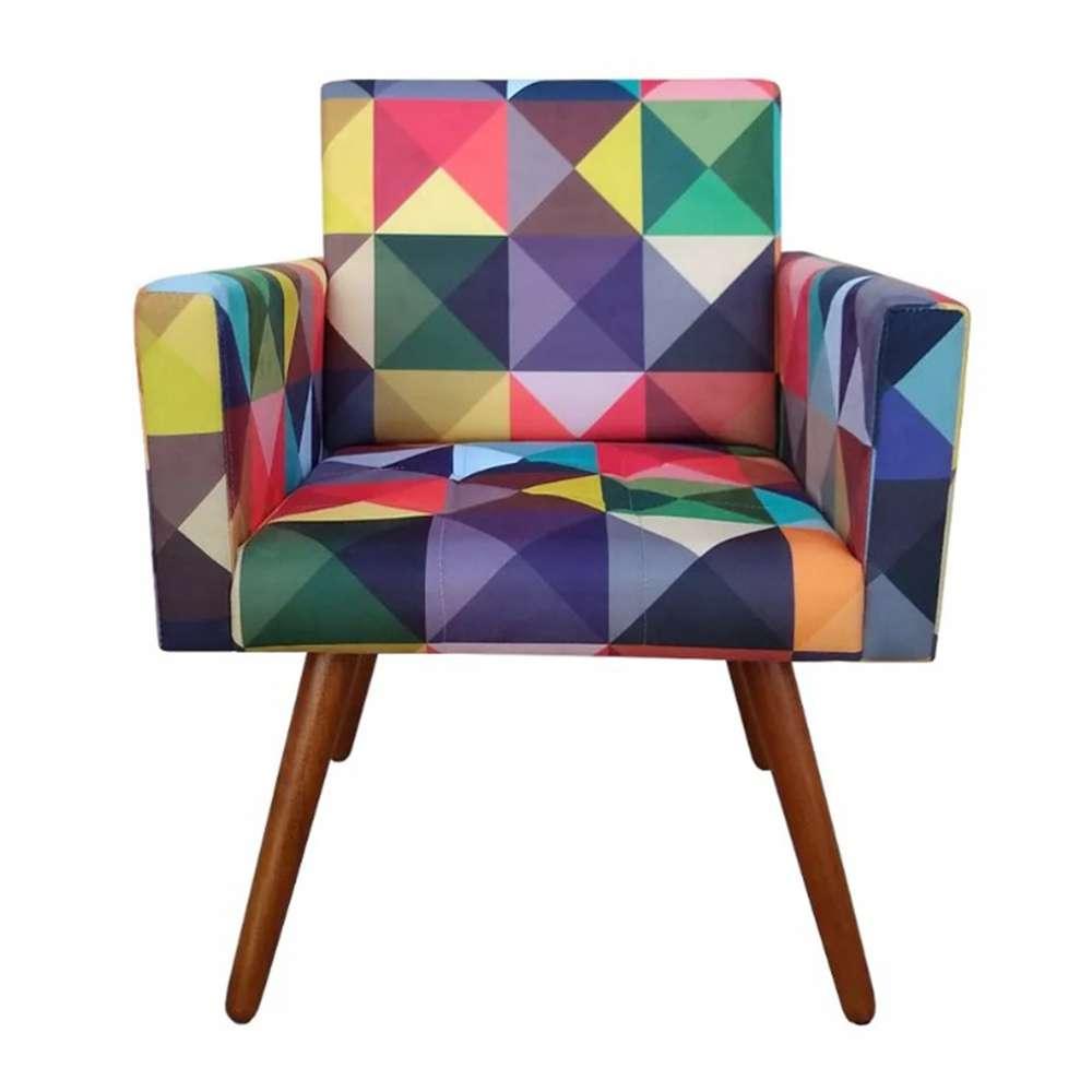 Poltrona Decorativa Nina Triângulos - Bela Casa Shop