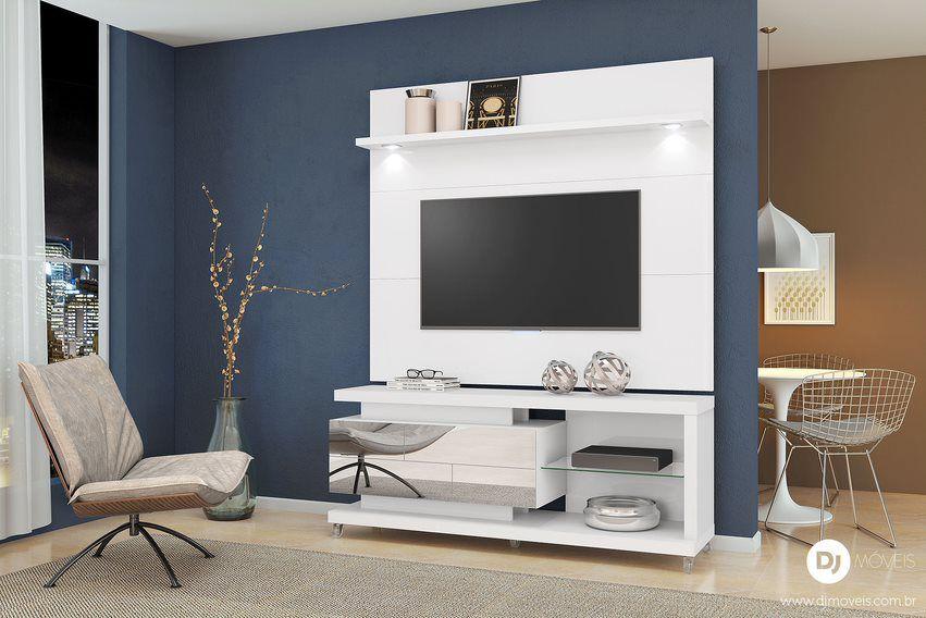 Rack com painel Reflecta Branco Laca para TV de até 55 - DJ Móveis
