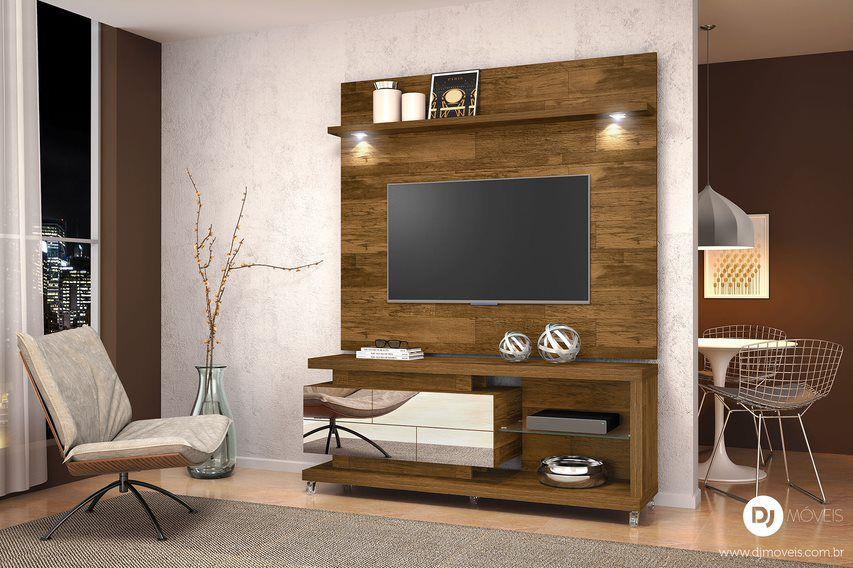 Rack com painel Reflecta Demolição para TV de até 55 - DJ Móveis