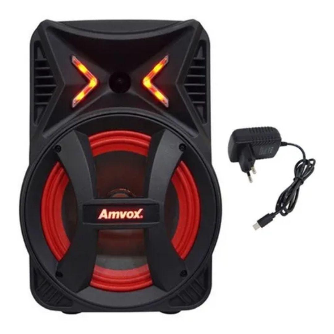 Caixa Som Amplificada Amvox Montanha Bluetooth Led Usb 180w