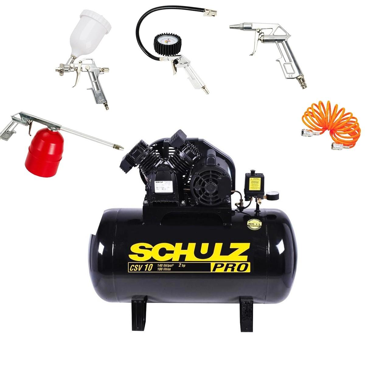 Compressor De Ar 10 Pés 100l 110 Mono Pro Schulz + Kit 5 Pçs