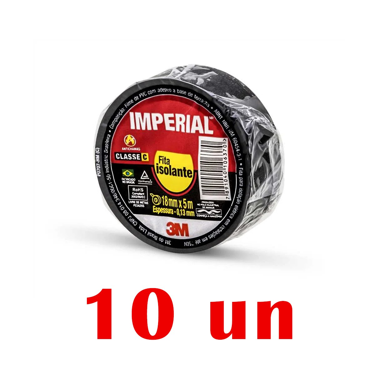 Kit 10 Pacotes de Fita Isolante 3M Imperial Preta Slim 18mmX5m