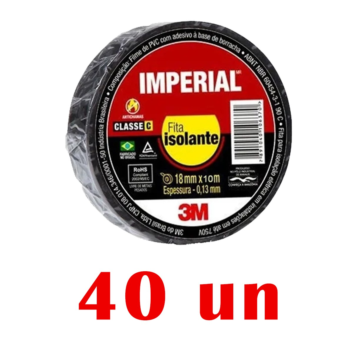 Kit 40 Fitas Isolante 3M Imperial Preta Slim 18mmX10m