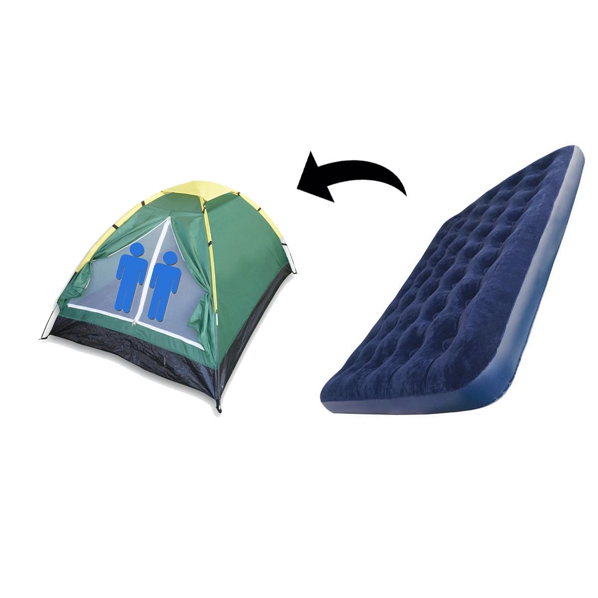 Kit Barraca De Camping 2 Lugares Com Colchão Inflável Casal Antares