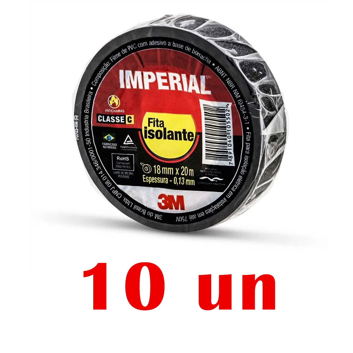 Kit Com 10 Fitas Isolante Preta Slim 18mmX20m