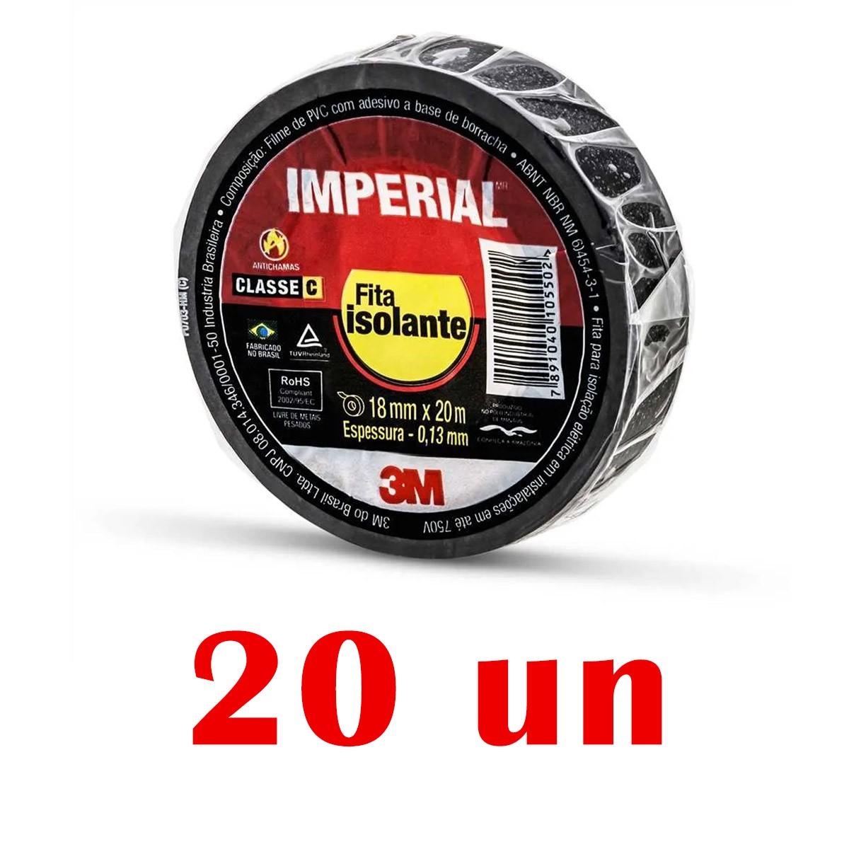 Kit Com 20 Fitas isolante Imperial Preta Slim 18mmX20m