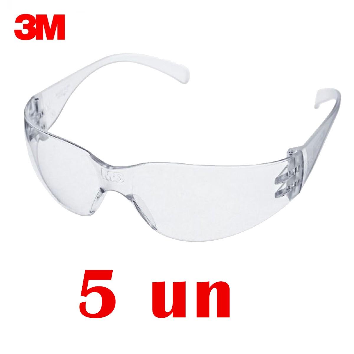 Kit Com 5 Óculos Segurança 3M Virtua Incolor Anti Risco