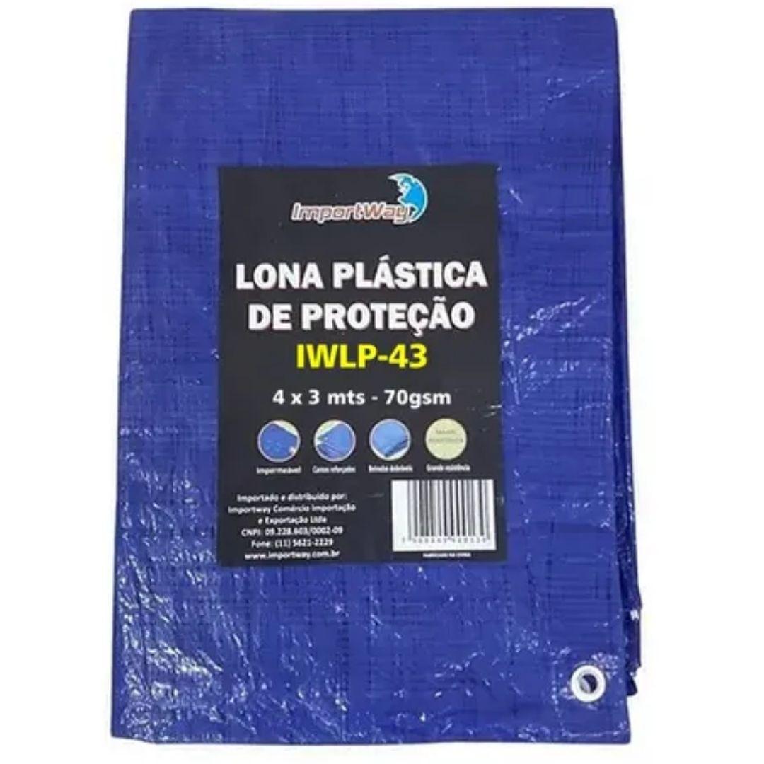 Lona Plástica Encerado 4x3 Azul Multiuso Impermeável