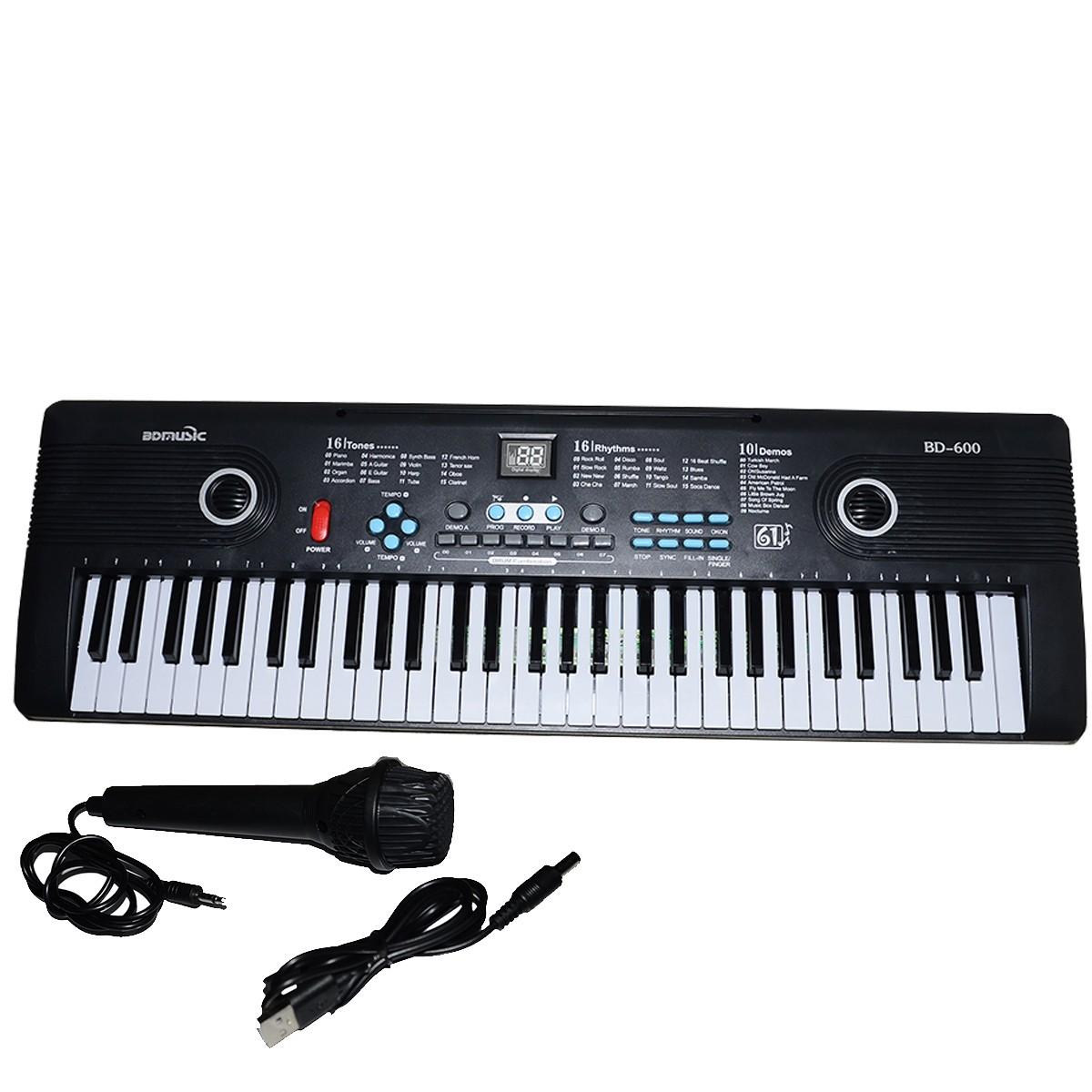 TECLADO MUSICAL 61 TECLAS INICIANTE COM MICROFONE E USB