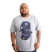 Camiseta New Era Yankees Plus Size Mescla Cinza