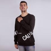 Moletom Calvin Klein Jeans Gola Redonda Preto