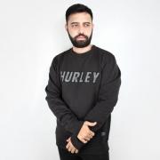 Moletom Hurley Careca Overlayer Preto