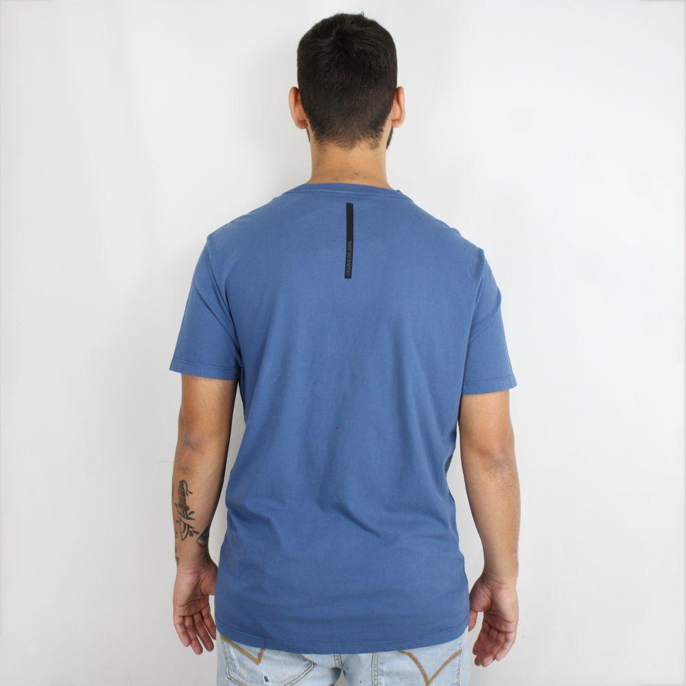 Camiseta Calvin Klein Jeans Basic Faixa Azul