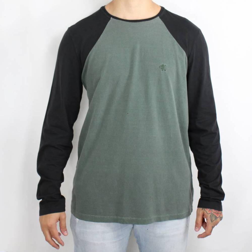 Camiseta Calvin Klein Jeans Manga Longa Verde / Preta