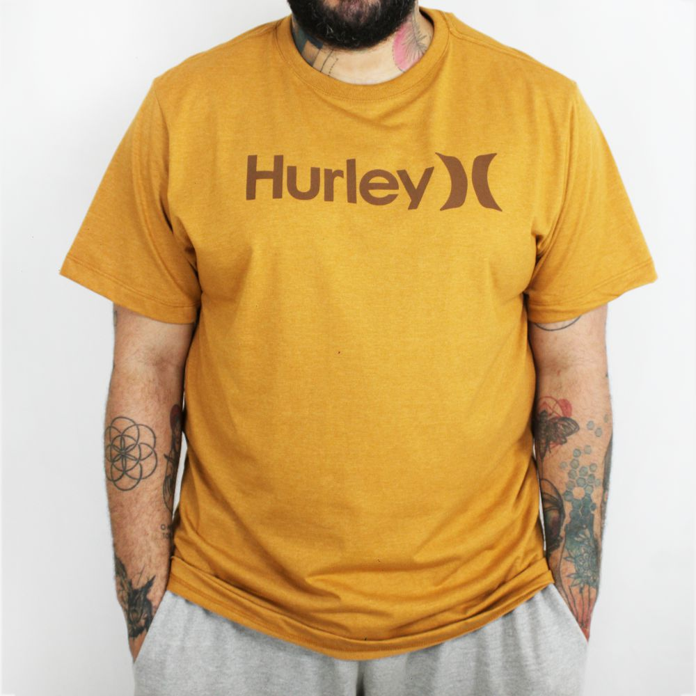 Camiseta Hurley O&O Solid Plus Size Mostarda