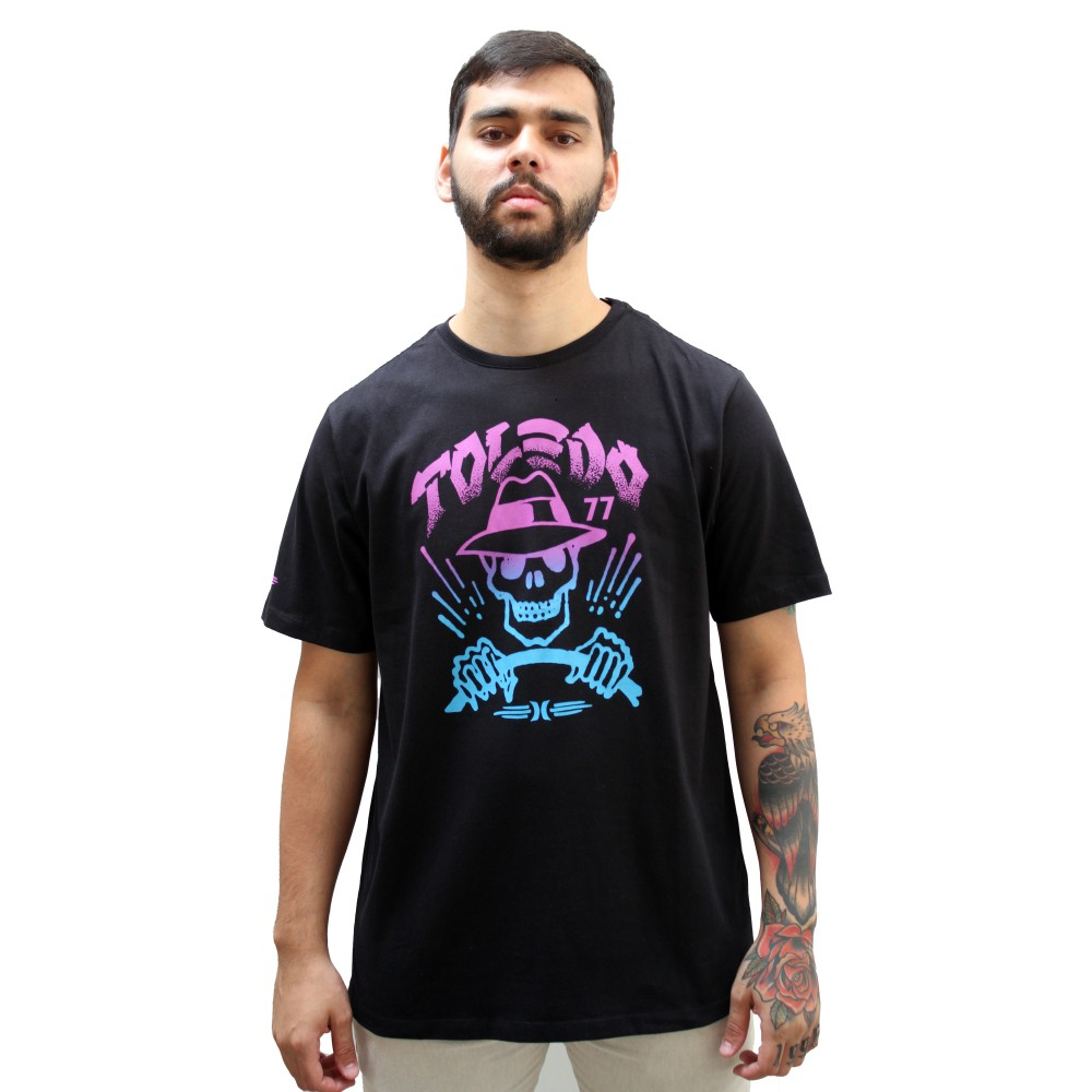 Camiseta Hurley Silk Skull Black