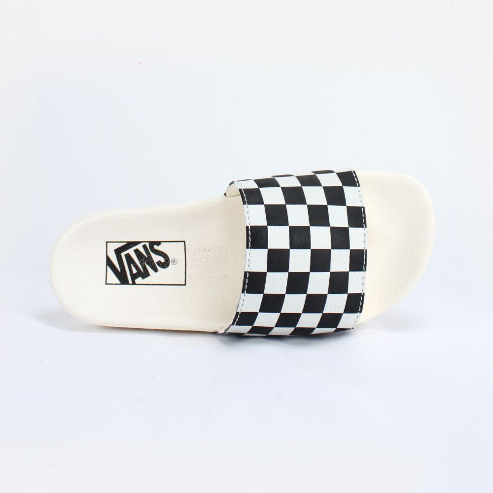 Chinelo Slide Vans Branco Checkerboard