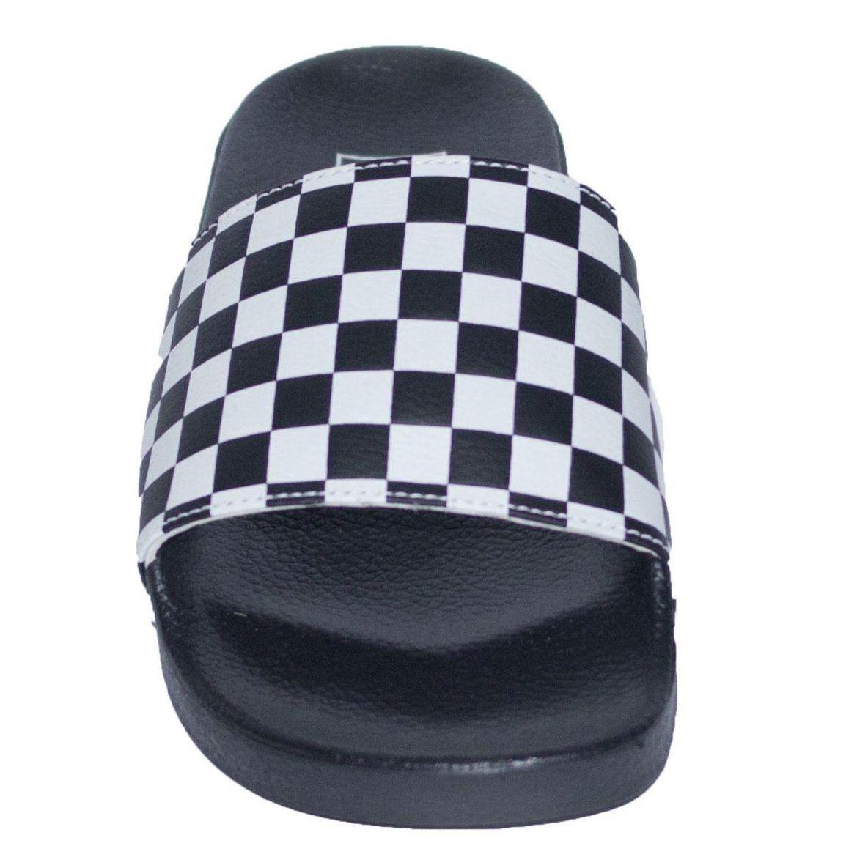 Chinelo Slide Vans Checkerboard - Preto