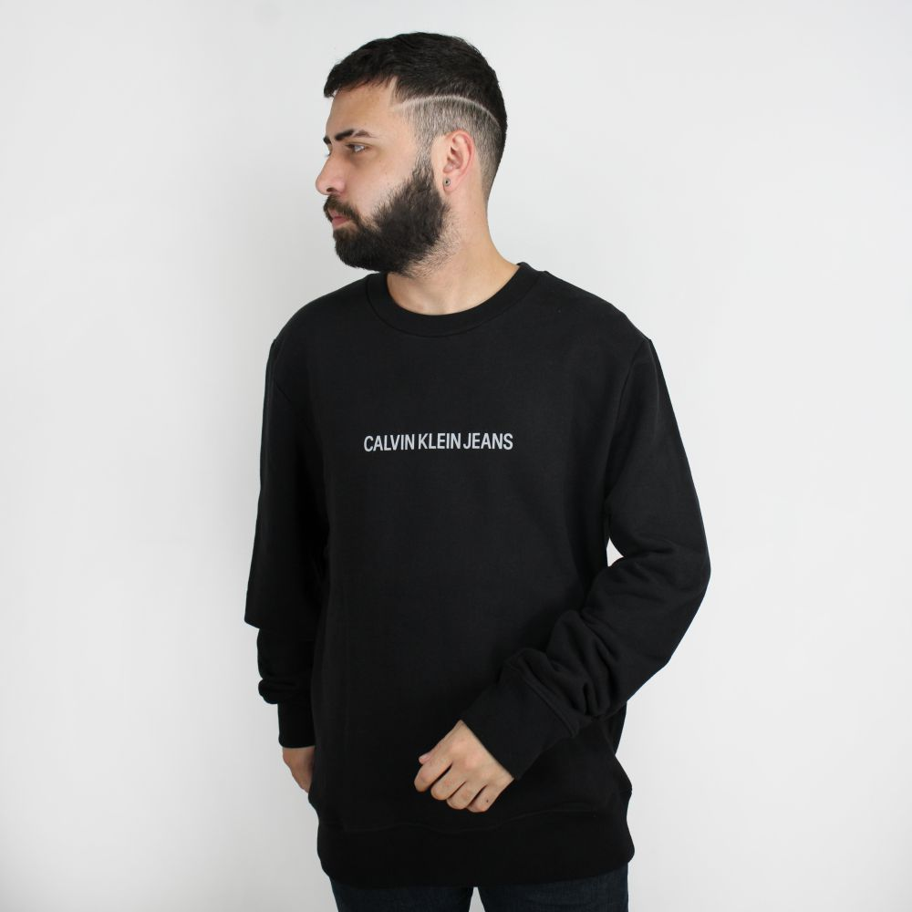 Moletom Calvin Klein Jeans Careca Logo Classic Preto