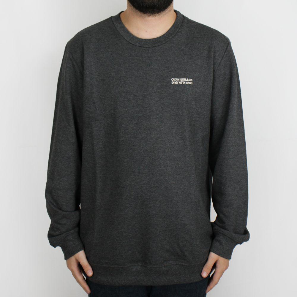 Moletom Calvin Klein Jeans Careca Mini Logo Grafite