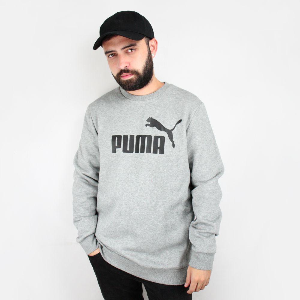 Moletom Puma Logo Crew Cinza