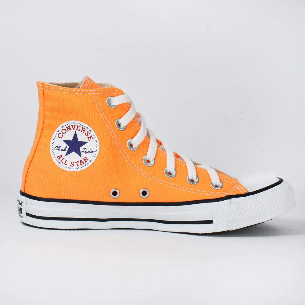 Tênis Converse All Star Cano Longo Chuck Taylor Laranja Neon