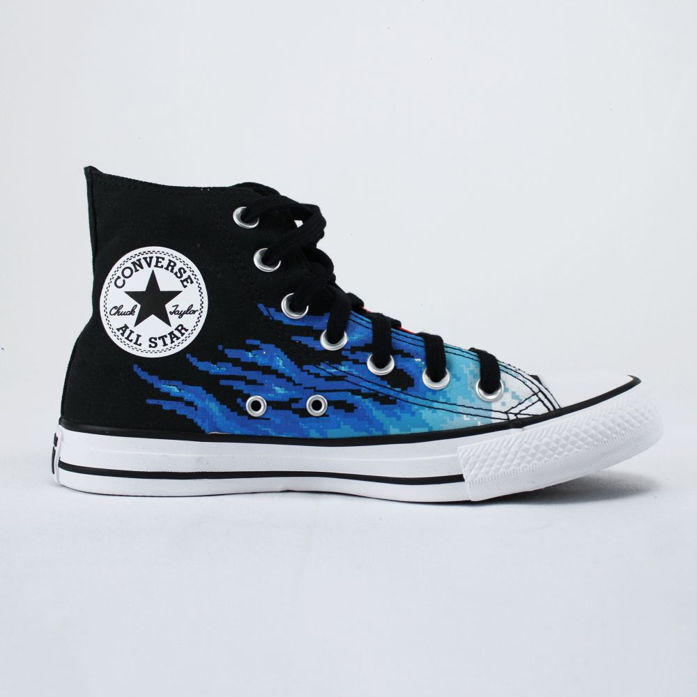 Tênis Converse Chuck Taylor All Star Preto e Azul Cano Longo