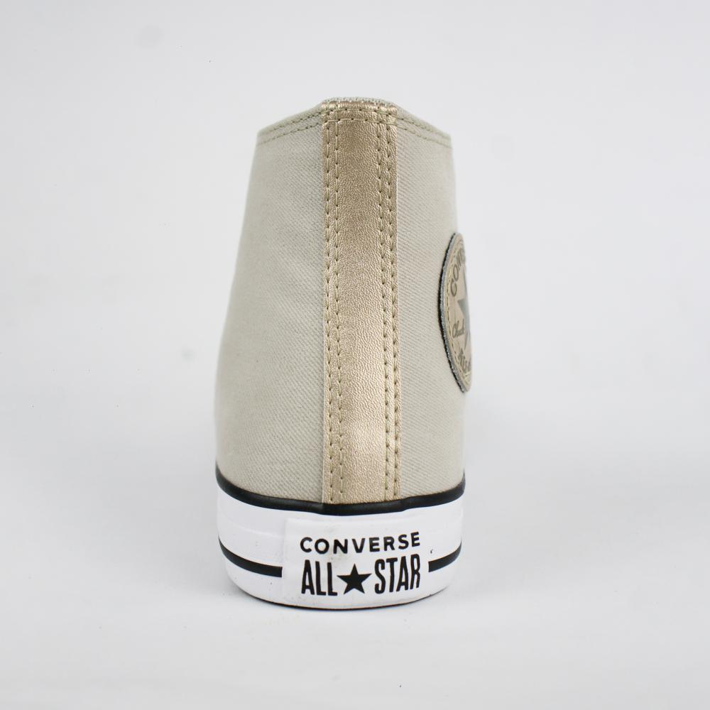 Tênis Converse Chuck Taylor Cano Longo Bege / Dourado